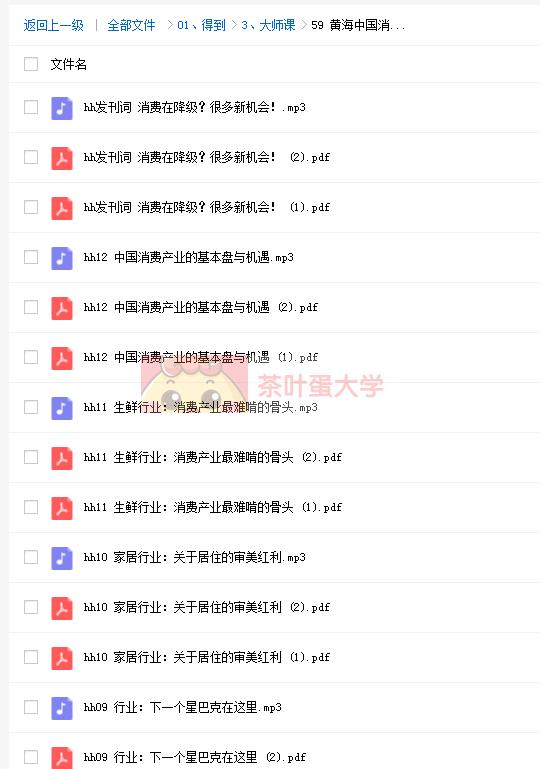 黄海中国消费产业报告12讲 - 得到 - 百度网盘 - 下载 得到大学 第2张